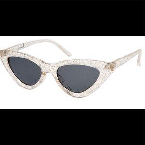 Sourpuss Cat Eye Sunglasses In Clear Glitter
